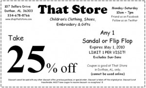 Sandal or Flip Flop Shoe Coupon